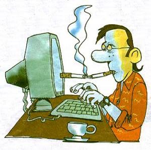 Homem grudado no computador!