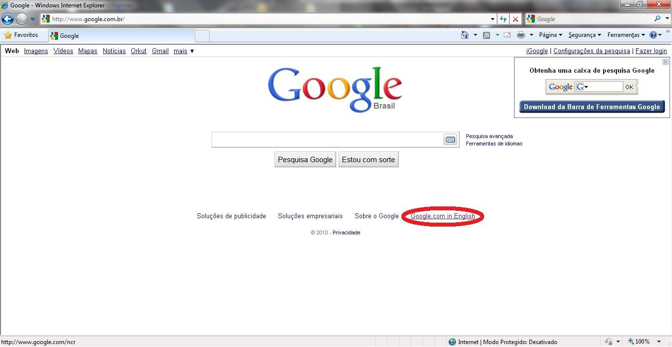 Inserindo imagem de fundo na página inicial do Google Google