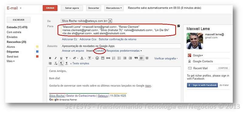 Integrando Gmail e Google Calendar