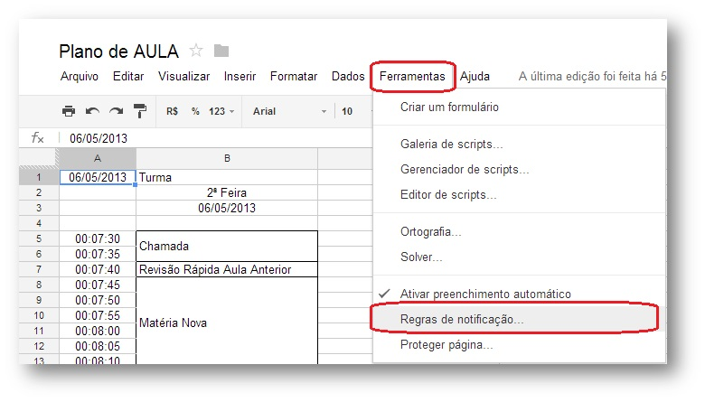 Como ativar Regras de Notificação no Google Spreadsheet