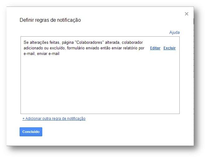 Ativando Regras de Notificação no Google Spreadsheet