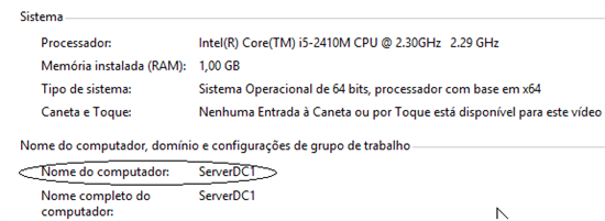 Figura 1.5 – Propriedades do Sistema - Windows Server