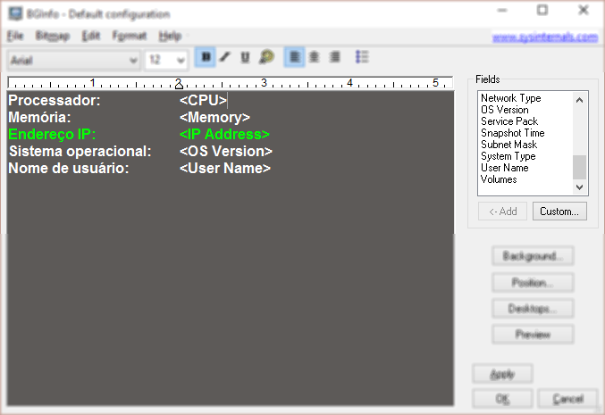 Configurando o BGInfo