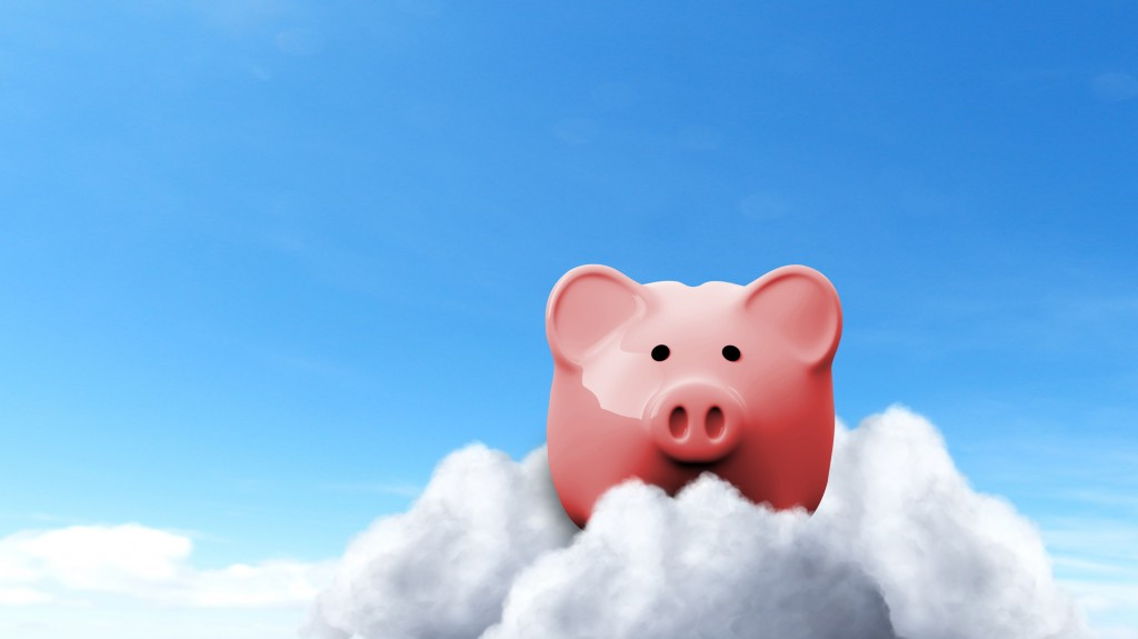 Piggy Bank on Clouds - Savings Concept