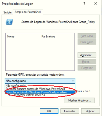 Figura 1.4 - Impondo que scripts no Windows PowerShell sejam executados por último.
