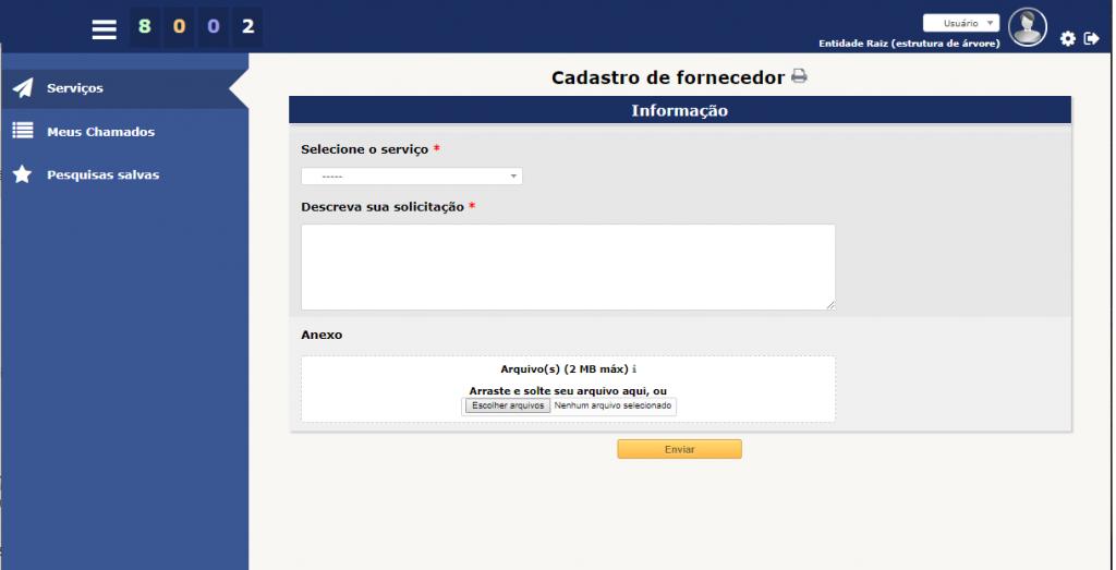Exemplo de um formulário simples do Formcreator