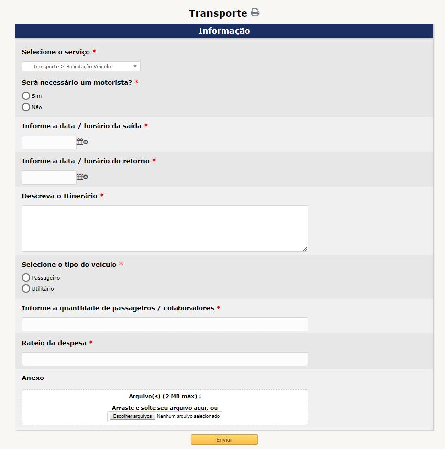 Exemplo de tela para um formulário com perguntas pré-definidas