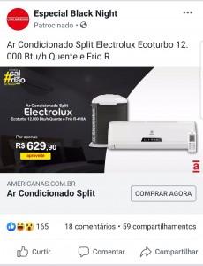 Anúncio-Fraude-Phishing-Facebook-Americanas-Ar-Condicionado-Electrolux