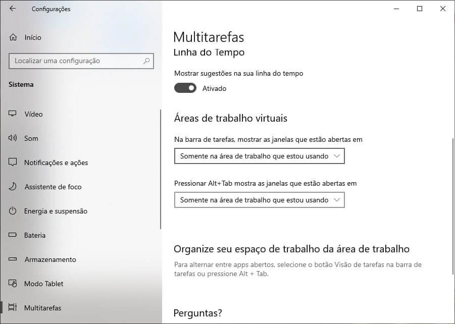 Ativar múltiplas áreas de trabalho no Windows 10
